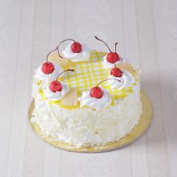 Eggless Pineapple Fresh Cream Cake