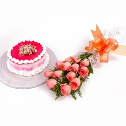Eggless Strawberry Cake and Pink Roses Bouquet
