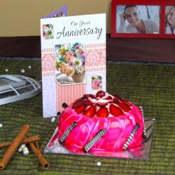 Eggless Strawberry Cake with Anniversary Greeting Card