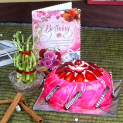 Eggless Strawberry Cake with Good Luck Plant For Birthday