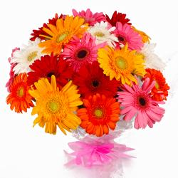 Eighteen Colorful Gerberas Bouquet