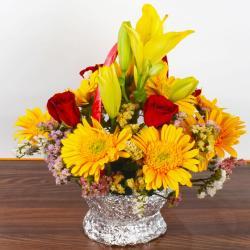 Eighteen Mix Flowers Arrangement in Basket