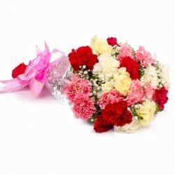 Eighteen Multi Color Carnations Bouquet