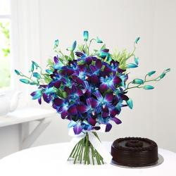 Eighteen Orchids with Chocolate Cake