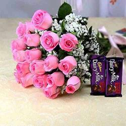 Eighteen Pink Roses Bouquet with Chocolates