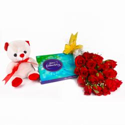 Eighteen Red Roses and Cute Teddy with Celebration Chocolate Pack