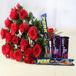 Eighteen Red Roses Bouquet with Assorted Chocolates