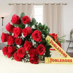Eighteen Red Roses Bouquet with Toblerone Chocolates