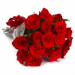 Eighteen Red Roses in Cellophane Wrapped Bunch