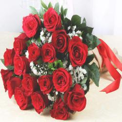 Eighteen Red Roses in Jute Wrapping