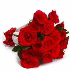 Eighteen Red Roses Paper Wrapping Bouquet