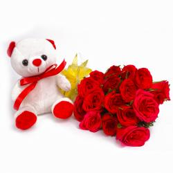 Eighteen Red Roses with Teddy Bear