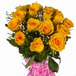 Eighteen Yellow Roses Cellophane Wrapping Bouquet