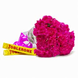 Elegant Bouquet of Pink Carnations with Toblerone Chocolate Bars