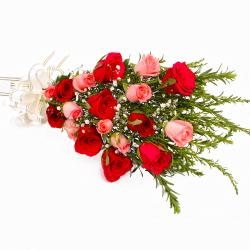Elegant Eighteen Pink and Red Roses Bouquet
