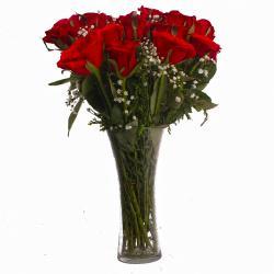 Elegant Eighteen Red Roses in Vase