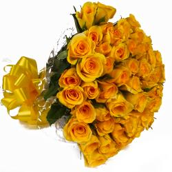 Elegant Forty Yellow Roses Bouquet