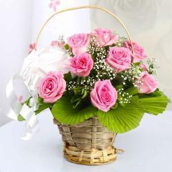 Elegant Pink Roses Basket