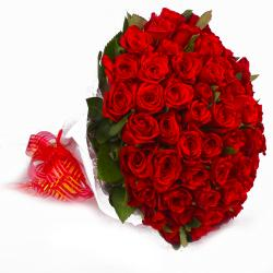 Exclusive Bouquet of 50 Red Roses with Tissue Wrapped