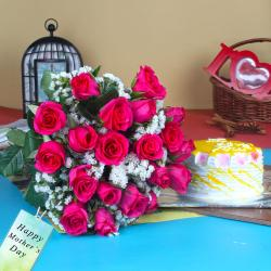 Exclusive Pink Roses and Pineapple Cake Gift for Mothers