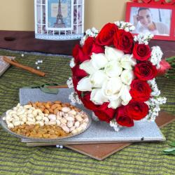 Exclusive Roses Bouquet with Assorted Dry Fruits