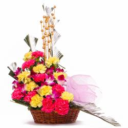 Exotic Arrangement of Fresh Orchids and Carnations