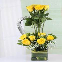 Exotic Arrangement of Yellow Roses in Vase