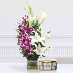 Exotic Flowers Arrangement with Ferreo Rocher Chocolate