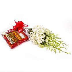 Exotic Orchids Bouquet and Assorted Indian Sweet Box