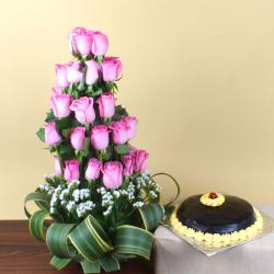 Exotic Pink Roses Arrangement  and Chocolate Cake