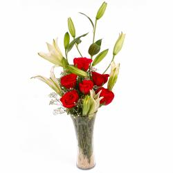 Exotic Vase Arrangement of Lilies and Red Roses