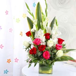 Exotic Vase Arrangement of Roses and Orchids