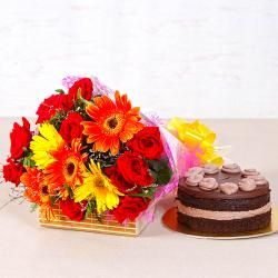 Fantastic Bright Floral Bouquet with Chocolate Creamy Cake