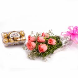 Fererro Rocher Chocolates 200 Gms and Bunch of 6 Pink Roses Combo