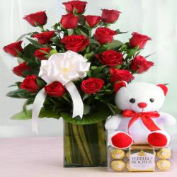 Ferrero Rocher Chocolate and Vase Arrangement of Red Roses with Teddy Bear