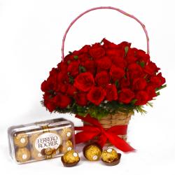 Ferrero Rocher Chocolate Box and 50 Red Roses Basket arranged