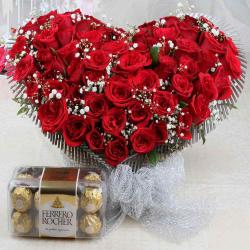 Ferrero Rocher Chocolate Box and Fifty Red Roses Heart Shape Arrangement