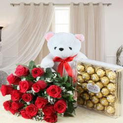 Ferrero Rocher Chocolate Box with Roses Bouquet and Teddy Bear
