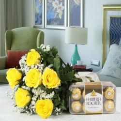 Ferrero Rocher Chocolate Box with Yellow Roses Bouquet