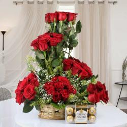 Ferrero Rocher Chocolate with Designer Red Roses in Basket