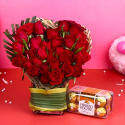 Ferrero Rocher Chocolate with Heart Shape Red Roses Arrangement