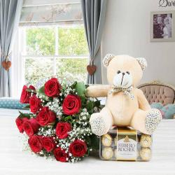 Ferrero Rocher Chocolate with Roses Bouquet and Teddy Bear