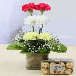 Ferrero Rocher Chocolates and Carnations Arrangement