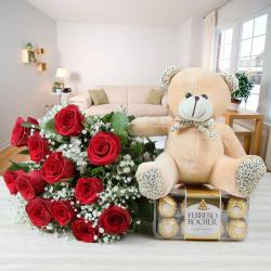 Ferrero Rocher with Red Roses Bouquet and Teddy