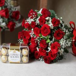 Ferrero Rocher with Red Roses Bouquet