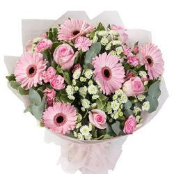 Fifteen Pink Flowers Bouquet