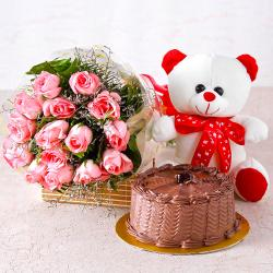 Fifteen Pink Roses with Chocolate Cake and Soft Toy