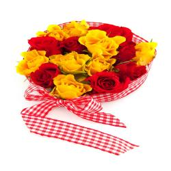 Fifteen Red And Yellow Roses Bouquet