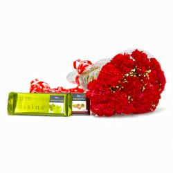 Fifteen Red Carnations Boquet with Cadbury Temptation Chocolates