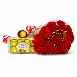 Fifteen Red Carnations Boquet with Ferrero Rocher Chocolate Box